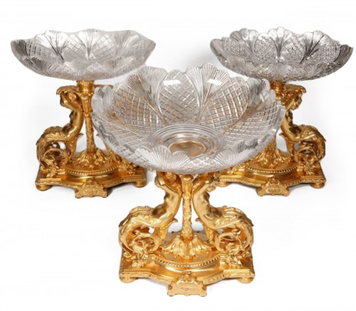 Centerpiece of three large cups gilt bronze and crystal baccarat size