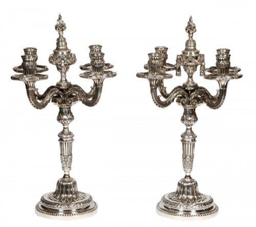 Pair of candelabra in silvered bronze XIXth France