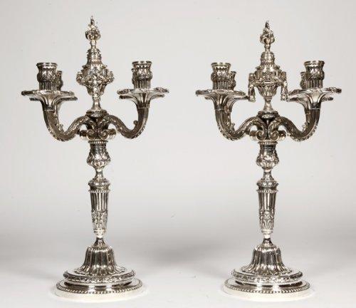 Lighting  - Pair of candelabra in silvered bronze XIXth France