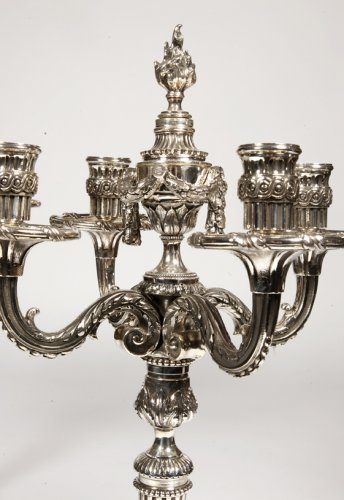 19th century - Pair of candelabra in silvered bronze XIXth France