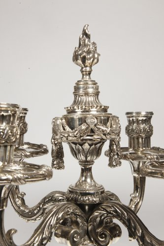 Pair of candelabra in silvered bronze XIXth France -
