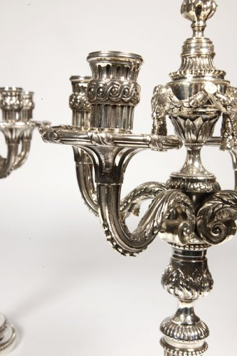 - Pair of candelabra in silvered bronze XIXth France