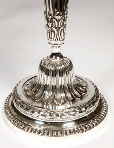 Antiquités - Pair of candelabra in silvered bronze XIXth France