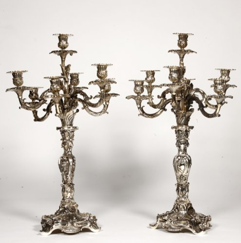 Pair of silver bronze candelabra XIXth century
