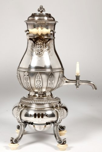 Samovar or hot water fountain in silvered metal  by Cardeilhac
