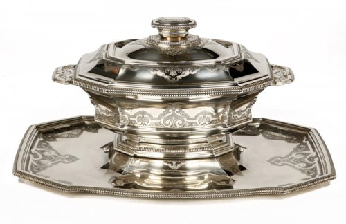 """Centerpiece in its """"dormant"""" in silver, early XXth by Roussel"""