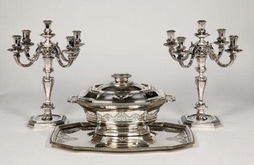 "Centerpiece in its ""dormant"" in silver, early XXth by Roussel - Antique Silver Style"