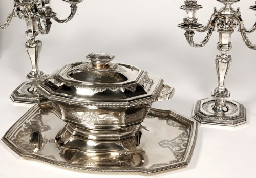 "Antique Silver  - Centerpiece in its ""dormant"" in silver, early XXth by Roussel"