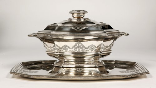 "20th century - Centerpiece in its ""dormant"" in silver, early XXth by Roussel"