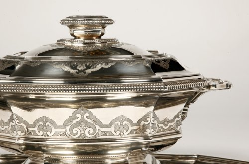 "Centerpiece in its ""dormant"" in silver, early XXth by Roussel -"