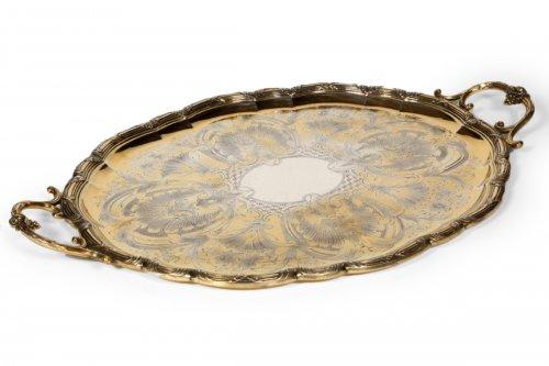 Oval tray in Vermeil, XIXth