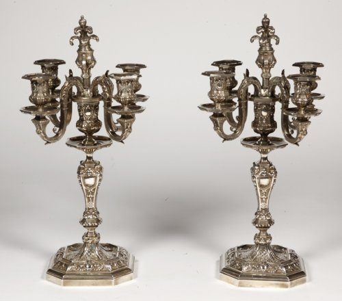 Pair of silvered bronze candelabra, late XIXth