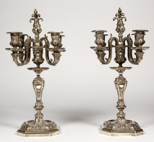 Pair of silvered bronze candelabra, late XIXth - Lighting Style