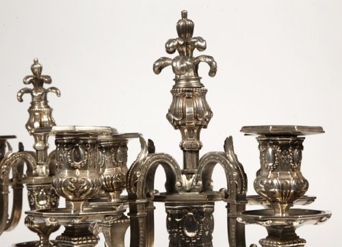 Lighting  - Pair of silvered bronze candelabra, late XIXth