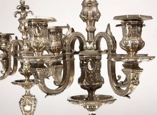 Pair of silvered bronze candelabra, late XIXth -
