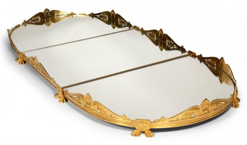 Mirror plateau in gilded bronze, early XIXth