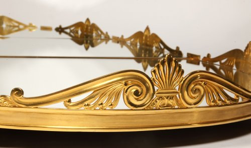 19th century - Mirror plateau in gilded bronze, early XIXth