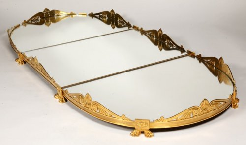 Mirror plateau in gilded bronze, early XIXth -
