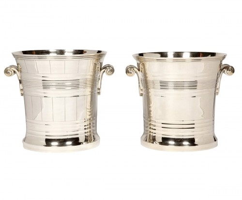 Goldsmith BOIN TABURET - Pair of coolers in solid silver Art Deco period