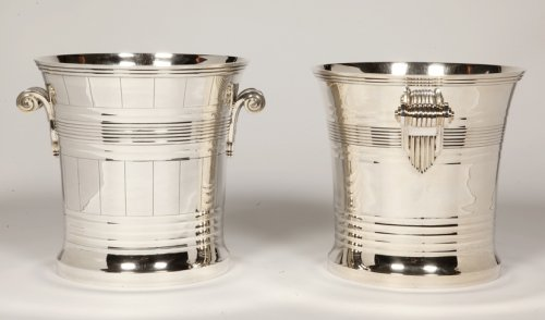 Goldsmith BOIN TABURET - Pair of coolers in solid silver Art Deco period - Antique Silver Style Art Déco