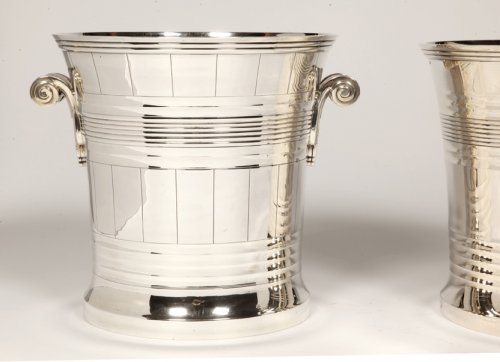 Antique Silver  - Goldsmith BOIN TABURET - Pair of coolers in solid silver Art Deco period