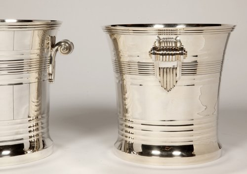 Goldsmith BOIN TABURET - Pair of coolers in solid silver Art Deco period -