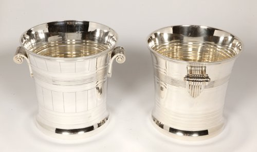 20th century - Goldsmith BOIN TABURET - Pair of coolers in solid silver Art Deco period