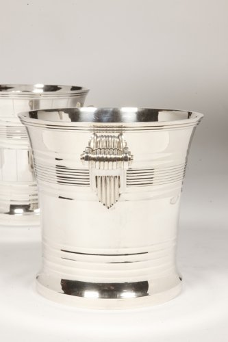 Goldsmith BOIN TABURET - Pair of coolers in solid silver Art Deco period - Art Déco