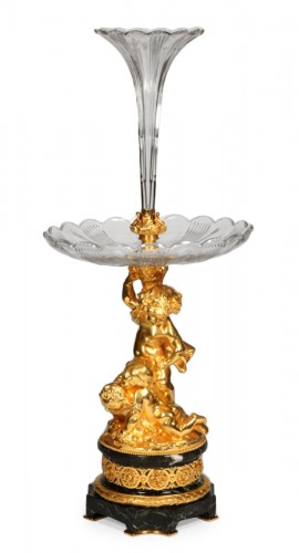 Centerpiece in gilded bronze and crystal, XIXth
