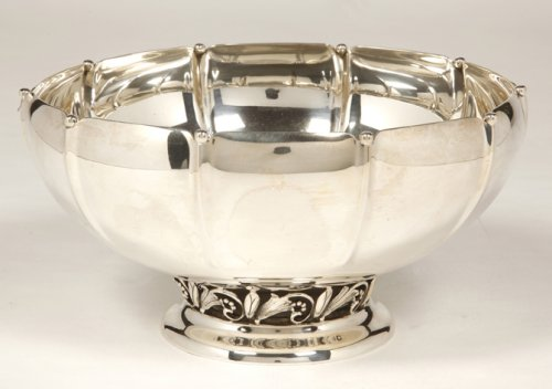 Silver punch bowl by Jensen