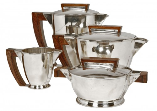 Tea coffee set in silver, Moderniste style