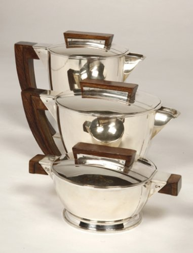 Tea coffee set in silver, Moderniste style - Antique Silver Style Art Déco