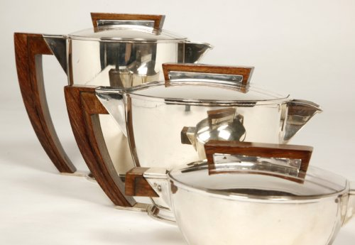 Antique Silver  - Tea coffee set in silver, Moderniste style