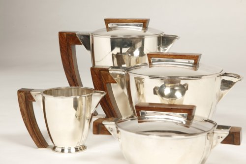 Tea coffee set in silver, Moderniste style -