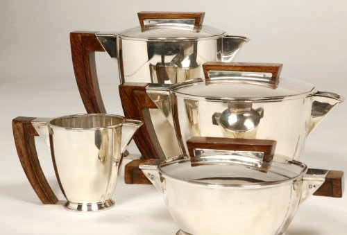 19th century - Tea coffee set in silver, Moderniste style