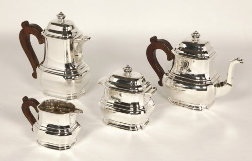 Tea coffee set in silver, Art Deco by Tetard