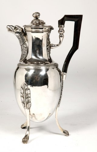 Coffee pot in solid silver, Empire period by J.G.R. - Antique Silver Style Empire