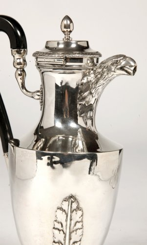 Coffee pot in solid silver, Empire period by J.B.P. - Antique Silver Style Empire