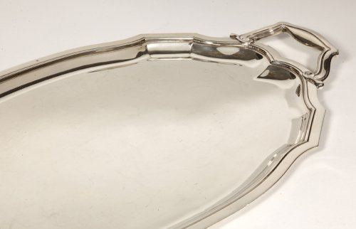 Tray in solid silver, circa 1940 by Tétard - Antique Silver Style