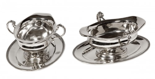 Pair of silver sauceboats, 20th, by Tétard