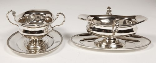 Pair of silver sauceboats, 20th, by Tétard - Antique Silver Style