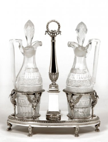 Vinegar and oil set in silver Empire period, by M.G. Biennais