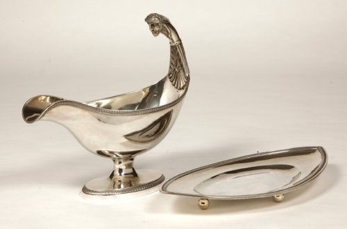 Empire sauceboat with a roman head in silver, by Boulenger et Hience -