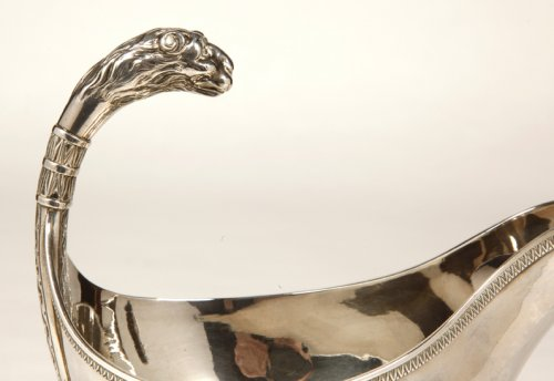 Antique Silver  - Empire sauceboat on its tray, by Guillaume Richard