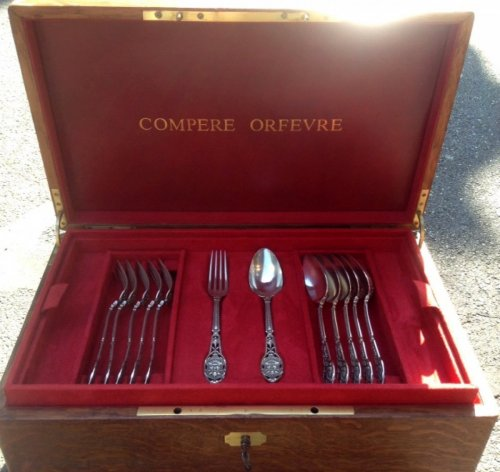 19th century - Cutlery set in silver, circa 1870,by Ernest Compère
