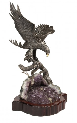 Eagle in silver on amethyst stone base, Italy XXth