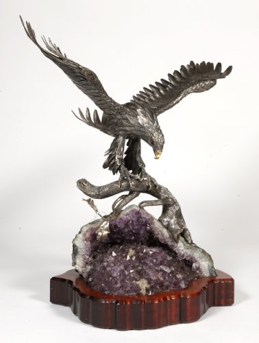 Eagle in silver on amethyst stone base, Italy XXth - Antique Silver Style
