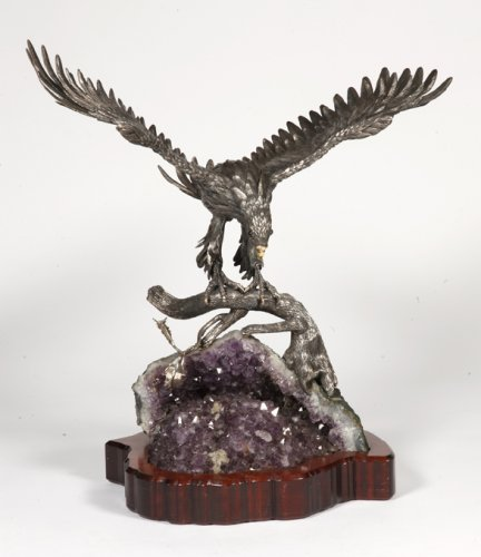 Antique Silver  - Eagle in silver on amethyst stone base, Italy XXth
