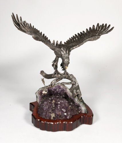 Eagle in silver on amethyst stone base, Italy XXth -