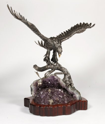 20th century - Eagle in silver on amethyst stone base, Italy XXth
